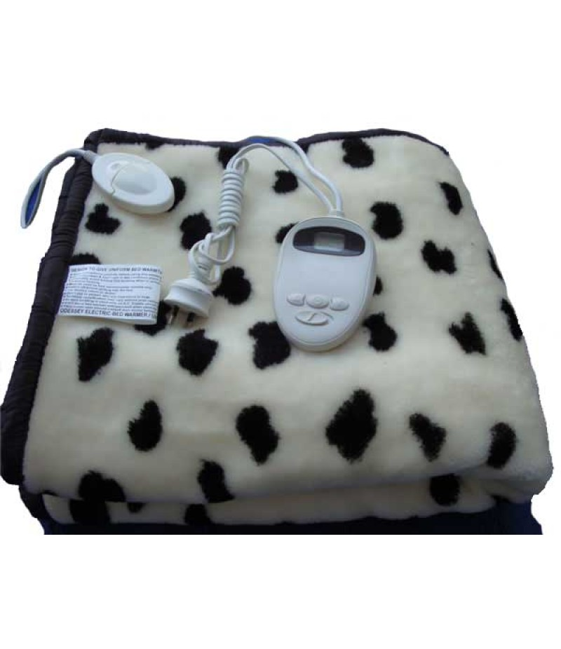 Off White Dotted Design Electric Blanket