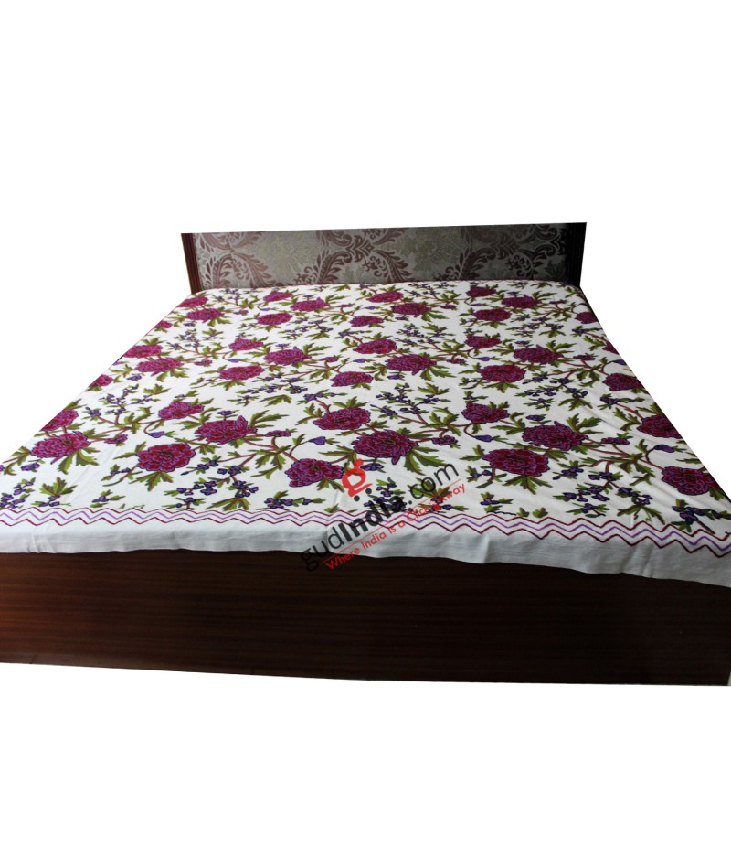 Kashmiri Crewel Hand Embroidered White Bed Cover