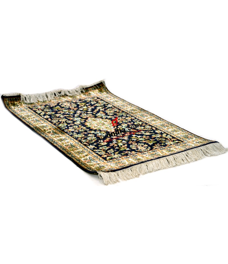 Black Kashmiri Silk Carpet Hand Knotted Rug