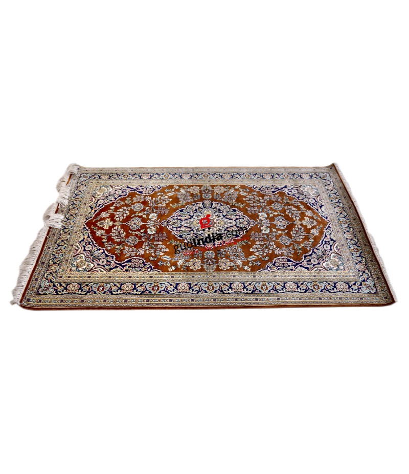Brown and Blue Kashmiri Silk Carpet Hand Knotted Rug