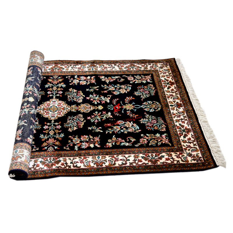 Black and Off white Kashmiri Silk Carpet Hand Knotted Rug