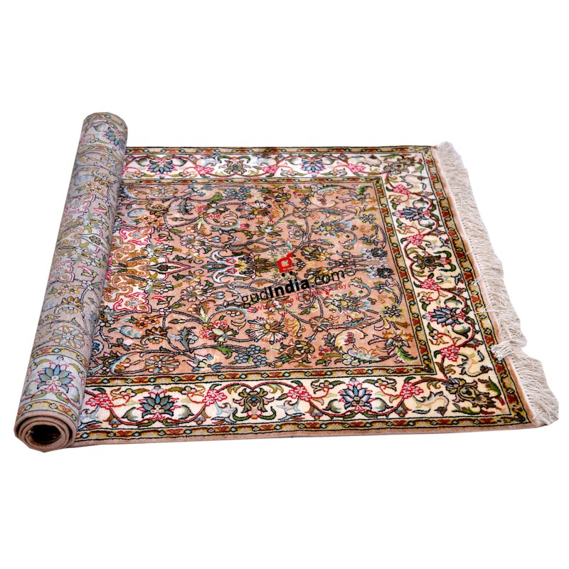 Multicolor Kashmiri Silk Carpet Hand Knotted Rug