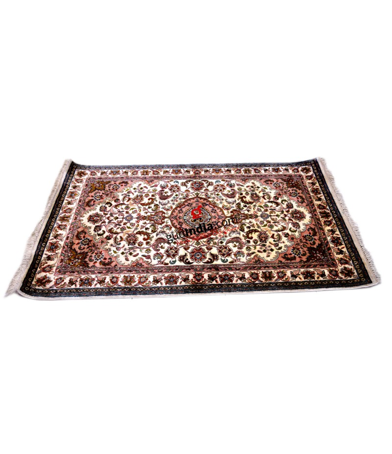 Off White and Pink Kashmiri Silk Carpet Hand Knotted Rug