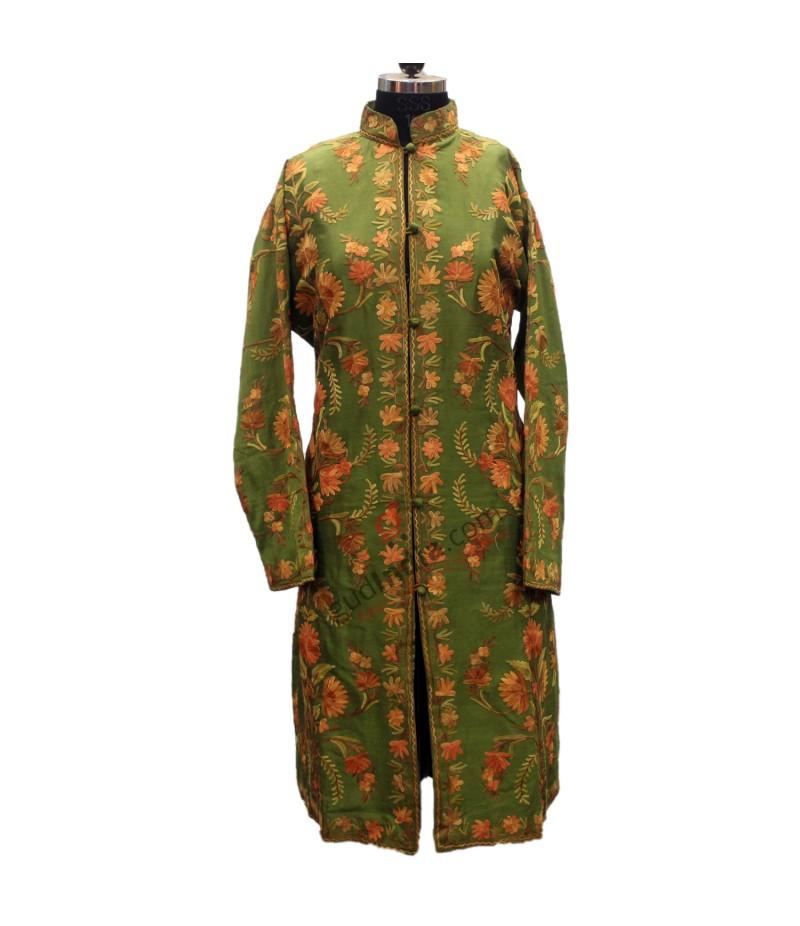 Green Kashmiri Embroidered Aari Silk Jacket