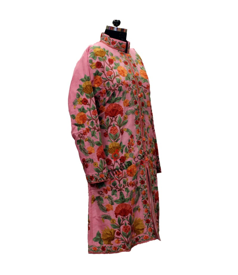 Baby Pink Multicolored Kashmiri Embroidered Aari Silk Jacket