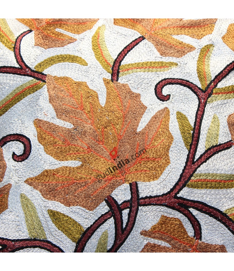 Chain Stitched White & Brown Chinar Leaf design Kashmiri Cushion Cover (Set of 3)