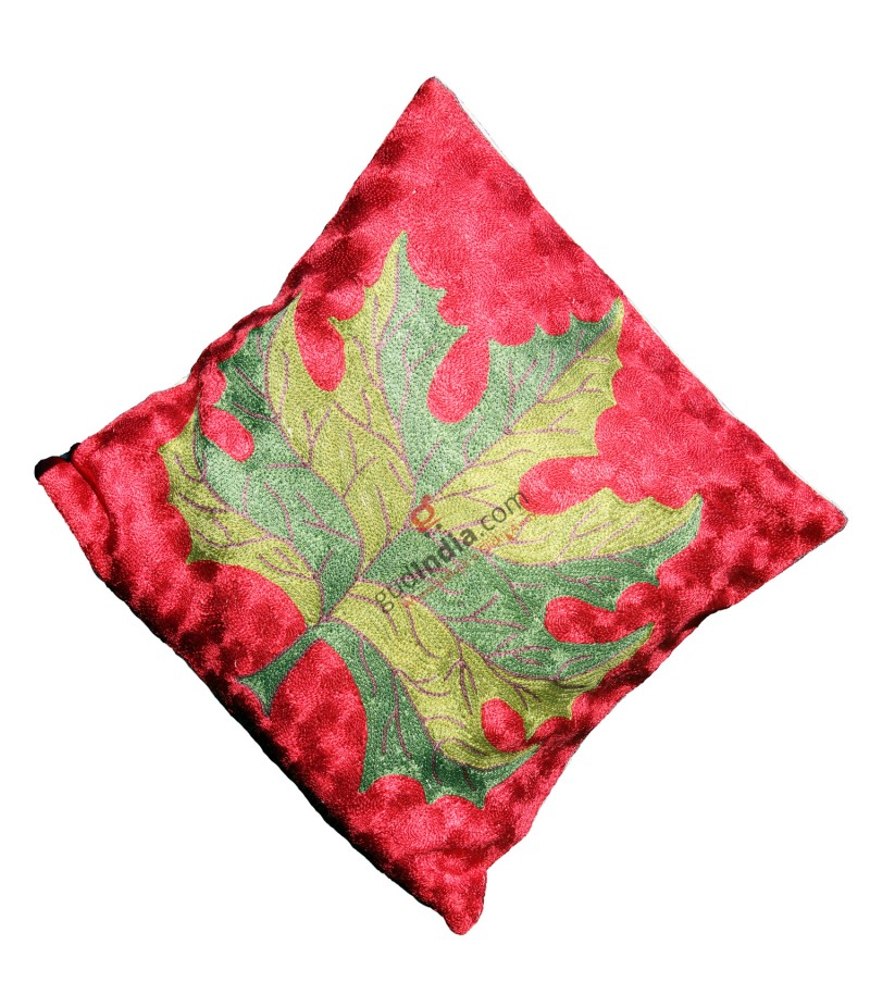 Maroon and Green Chinar Design Kashmiri Cushion Covers (Set Of 3)