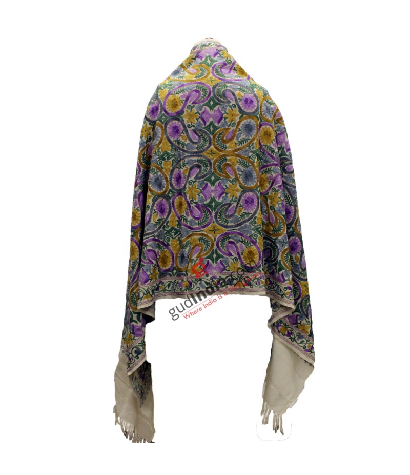 Light brown with multicolored bhutta embroidery Pashmina Kashmiri Stole