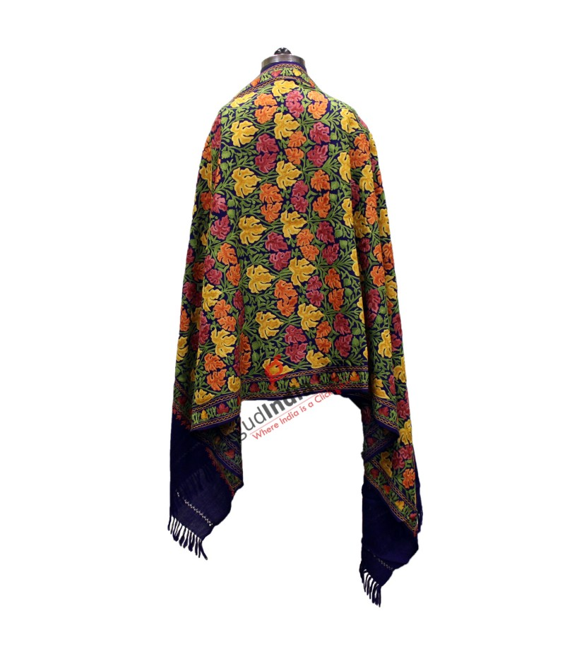Deep Blue with multicoloured chinar embroidery Shawl/Stole