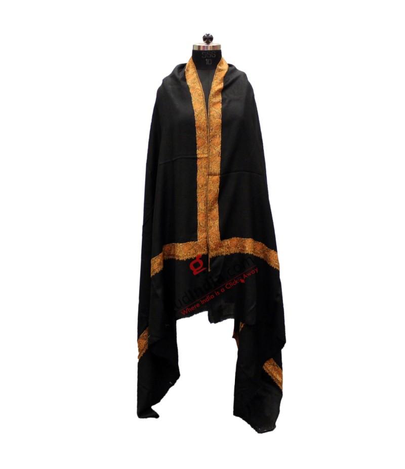 Black with Brown embroidered Border Pashmina Kashmiri Stole