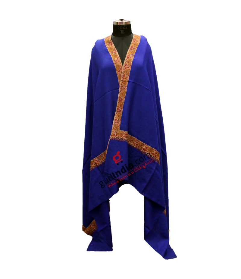 Royal Blue with Brown Embroidered Border Pashmina Kashmiri Shawl