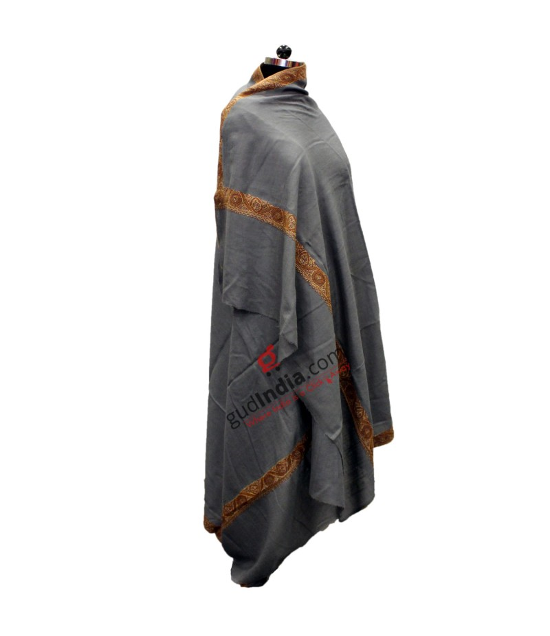 Steel Grey with Brown embroidered Border Pashmina Kashmiri Shawl