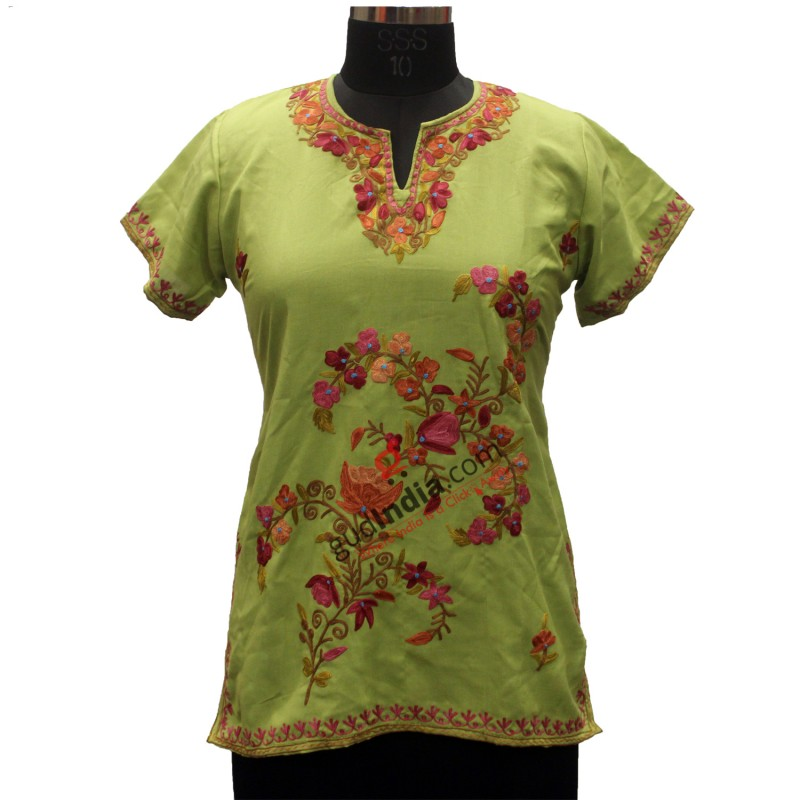 Pista Green Aari Embroidered Kashmiri Cotton Kurti