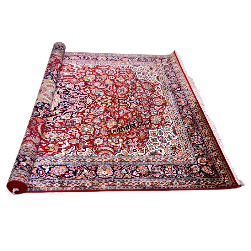 Maroon and Blue Kashmiri Silk Carpet Hand Knotted Rug