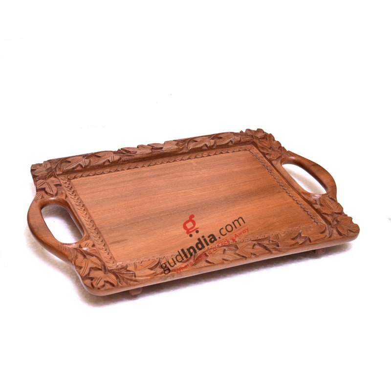 Kashmiri Designer Walnut Wood Tray