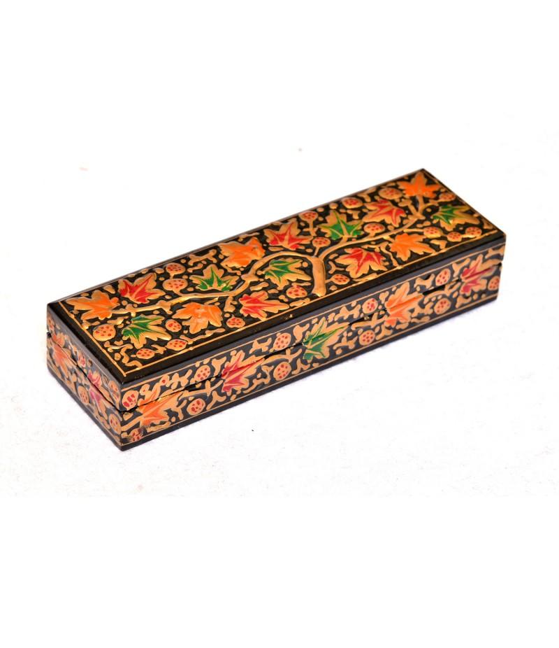 Black Kashmiri Paper Mache Pencil Box