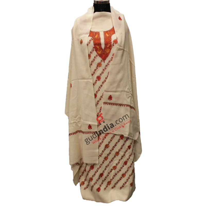 Handmade Pashmina Off White Kashmiri Suit With Stole