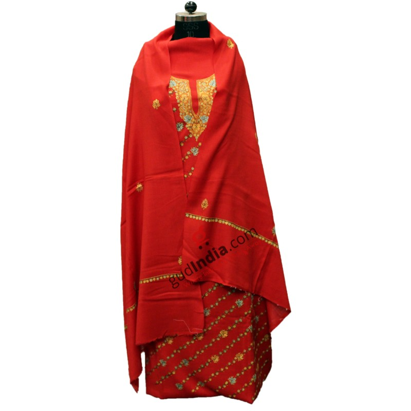 Handmade Pashmina Red Kashmiri Suit With Stole
