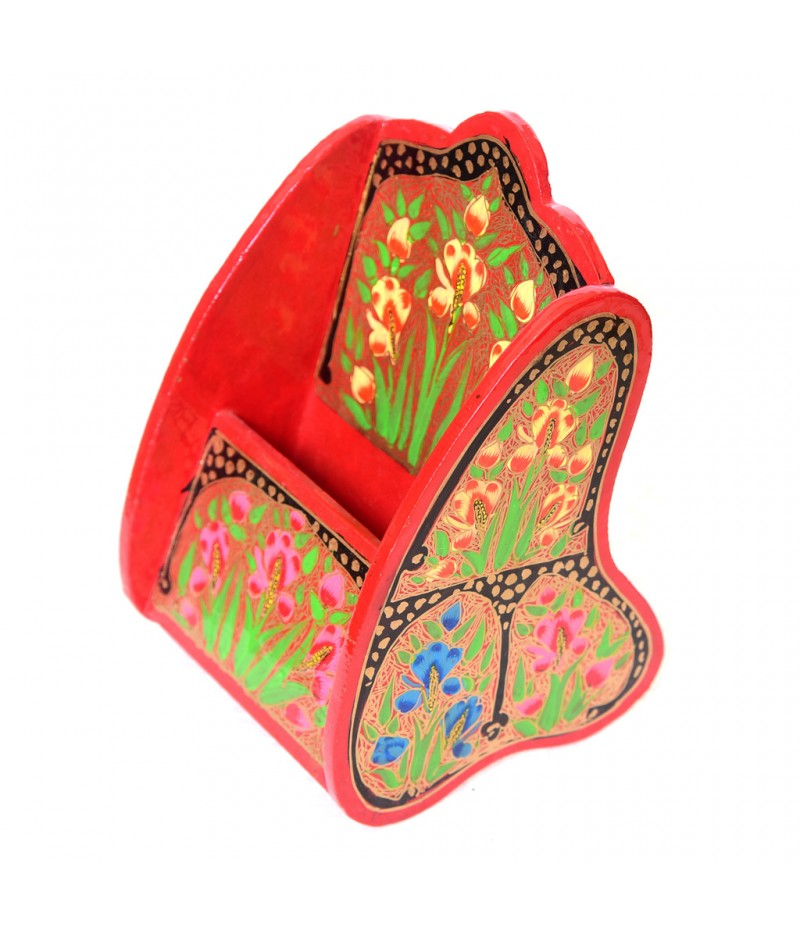 Kashmiri Red Plant Design Paper Mache Remote Holder