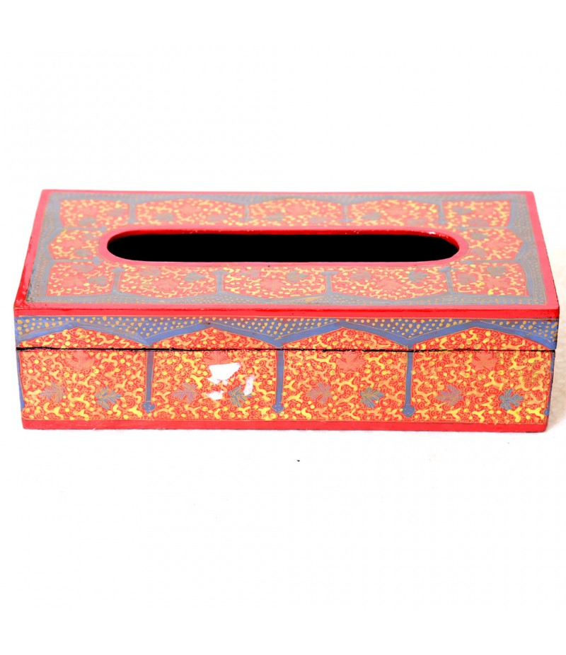 Kashmiri Orange Blue Chinar Paper Mache Tissue Box
