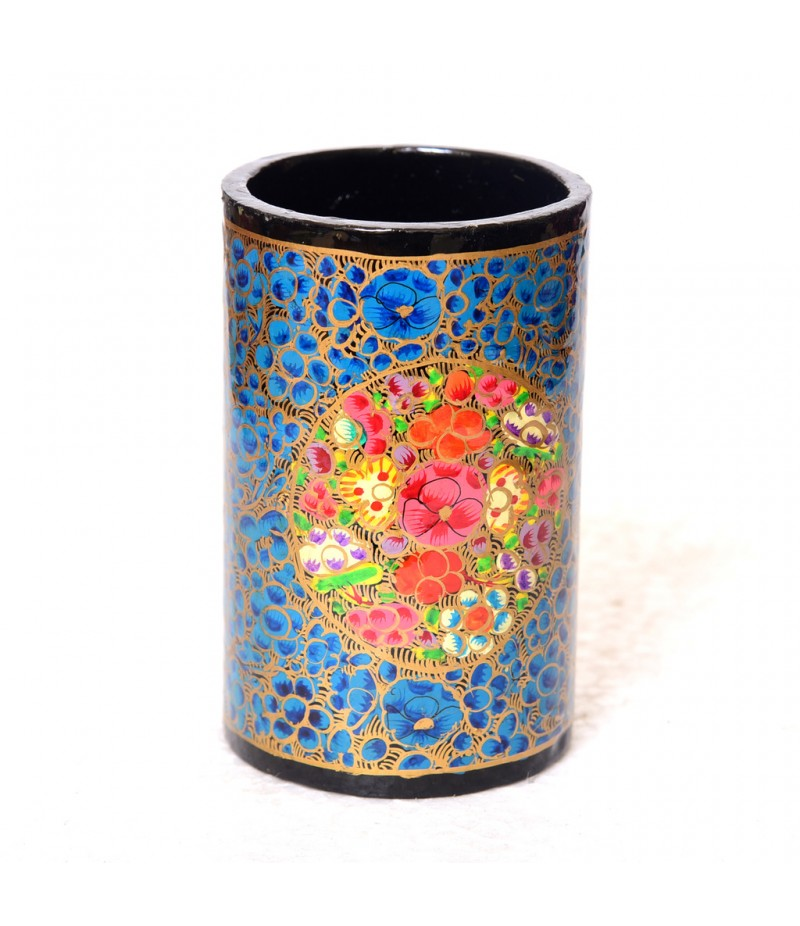 Kashmiri Blue Floral Handmade Paper Mache Pen Holder